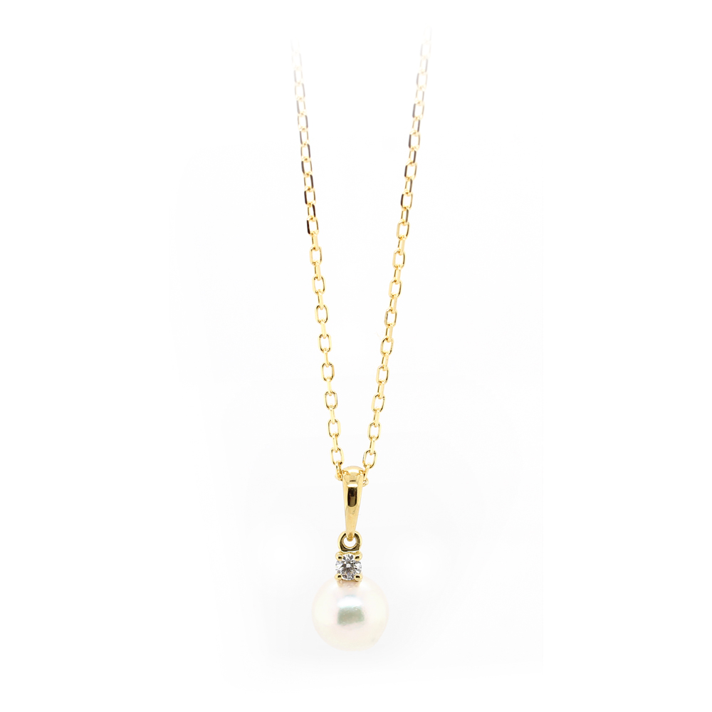 Mikimoto 18 Karat Yellow Gold Pearl and Diamond Pendant