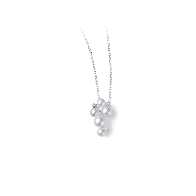 Mikimoto 18 Karat White Gold Akoya Pearl and Diamond Pendant Necklace
