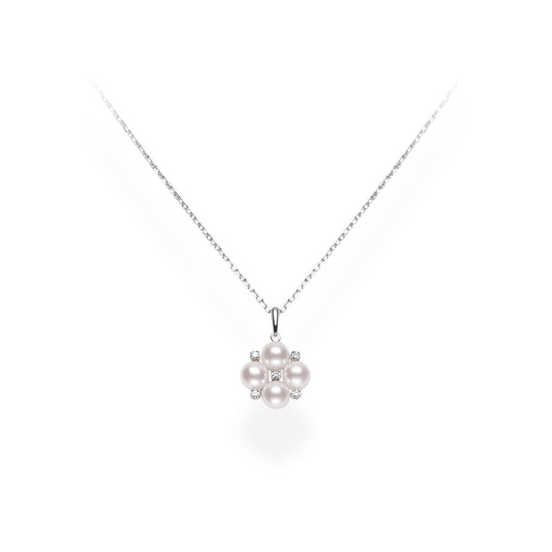 Mikimoto 18 Karat White Gold Pearl and Diamond Pendant Necklace