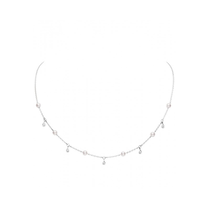 Mikimoto 18 Karat White Gold Pearl and Diamond Station Necklace