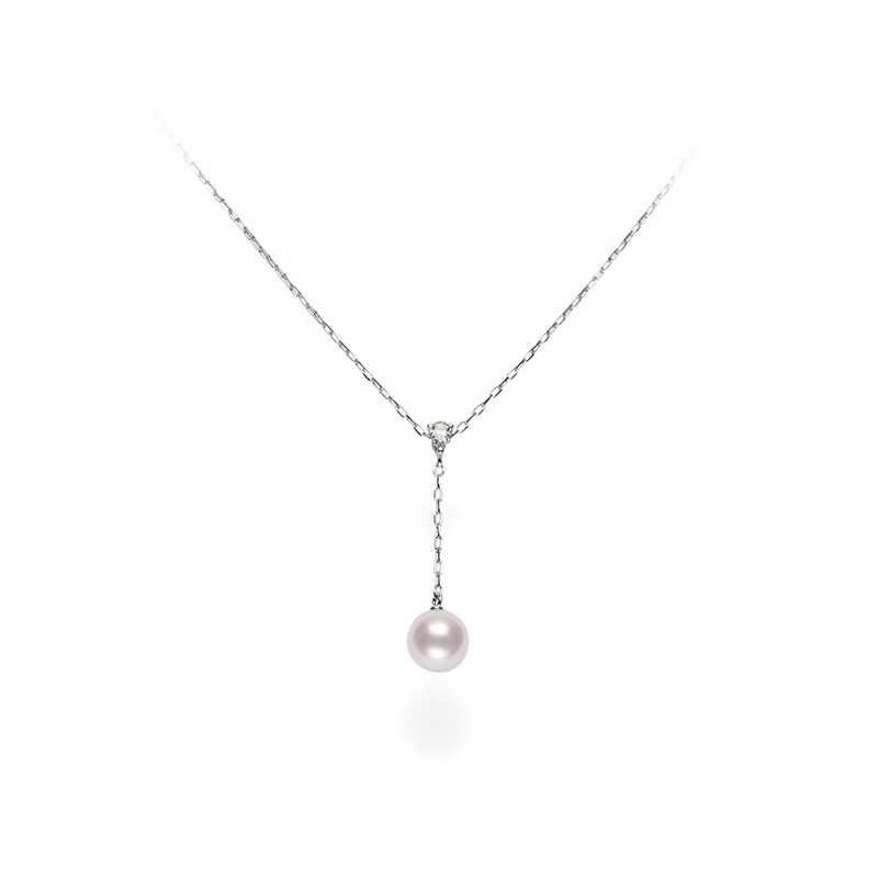 Mikimoto 18 Karat White Gold Akoya Pearl and Diamond Necklace