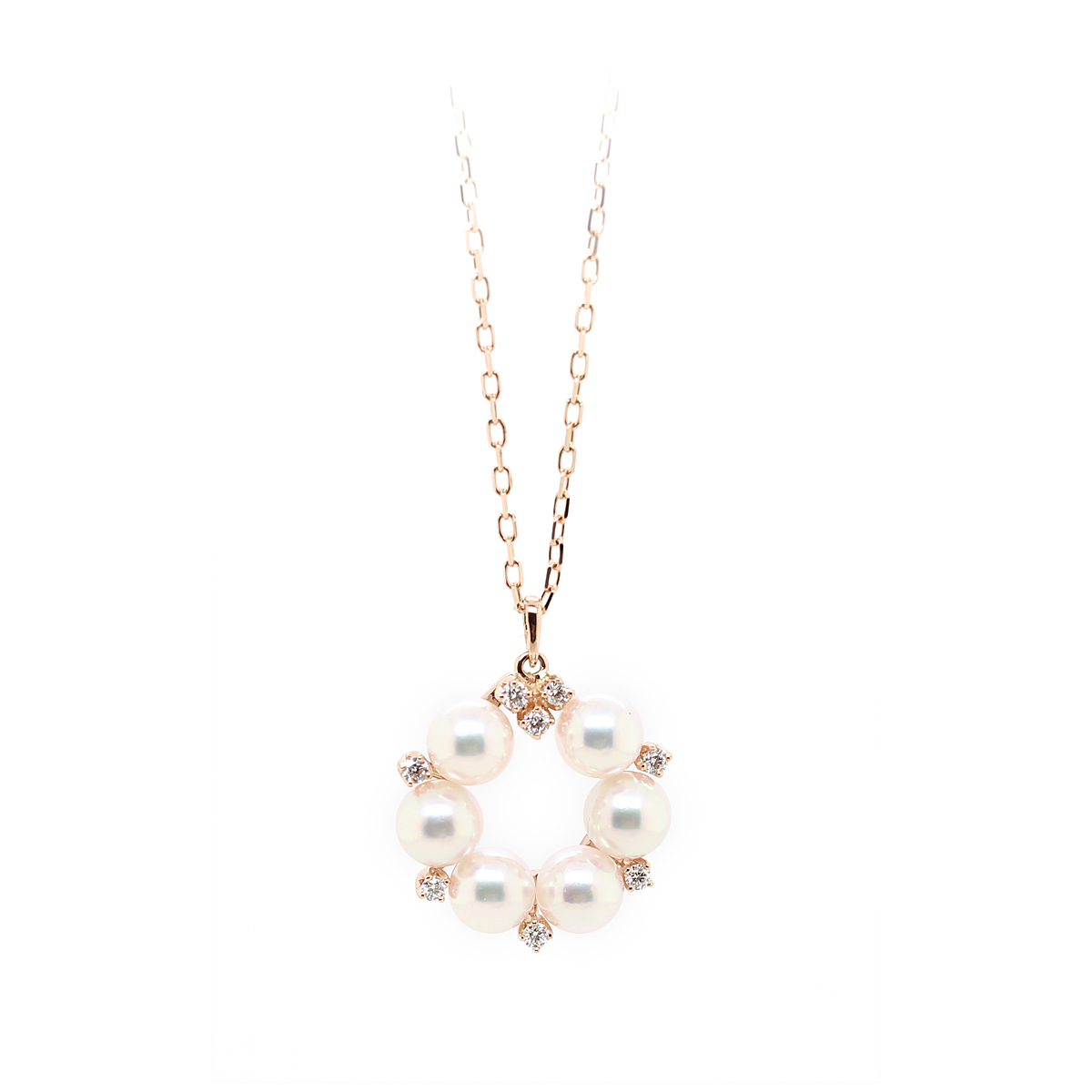 Mikimoto 18 Karat Rose Gold Akoya Pearl and Diamond Pendant Necklace