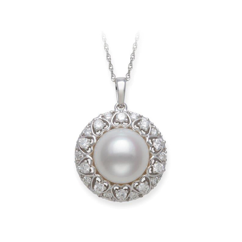 14 Karat White Gold Freshwater Pearl and Diamond Pendant Necklace