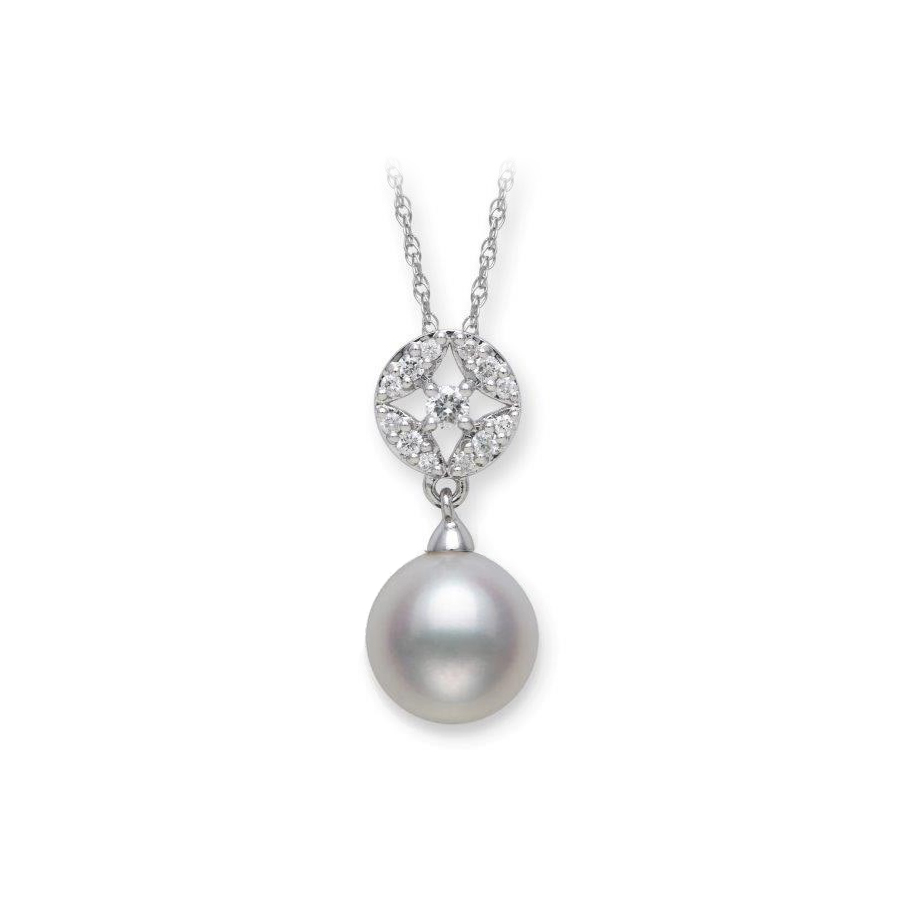 14 Karat White Gold Freshwater Pearl and Diamond Dangle Necklace