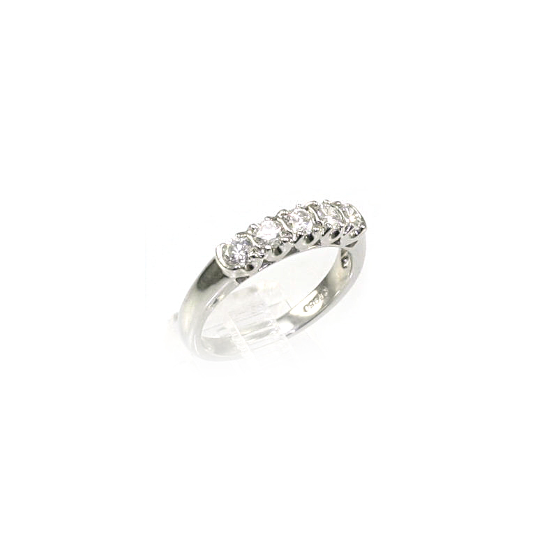Platinum Five Diamond Wedding Band