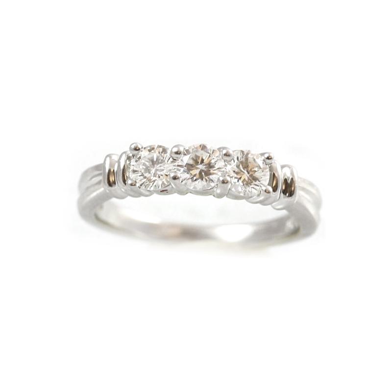 Platinum Three Diamond Wedding Band