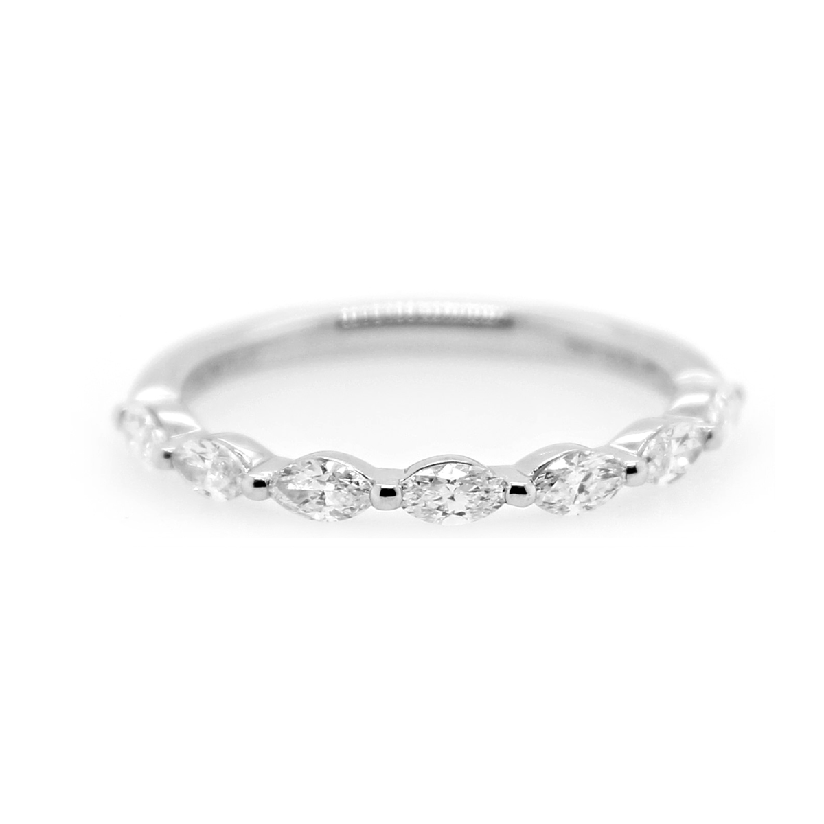 Henri Daussi Platinum Marquise Diamond Halfway Wedding Band