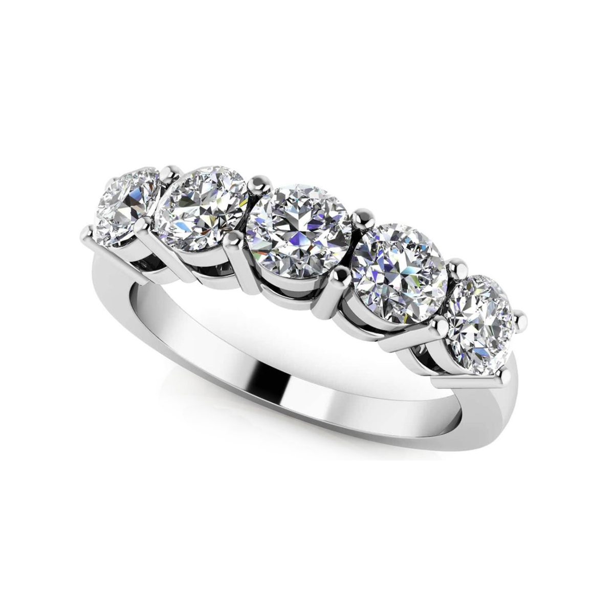 Platinum Five Across Diamond Wedding Band