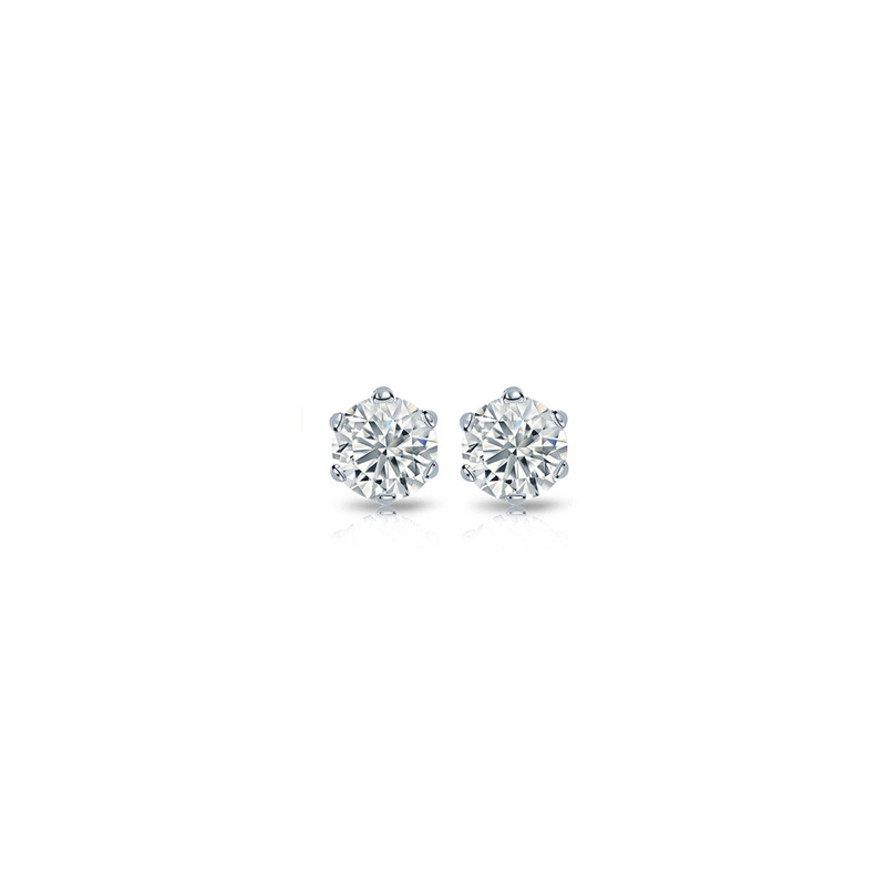 14 Karat white gold diamond solitaire earring