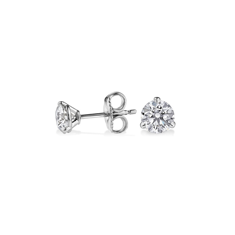 14 Karat white gold diamond solitaire earring. Each earring contains one full cut diamond prong set.  Diamonds have a total weight of 0.25 carat.