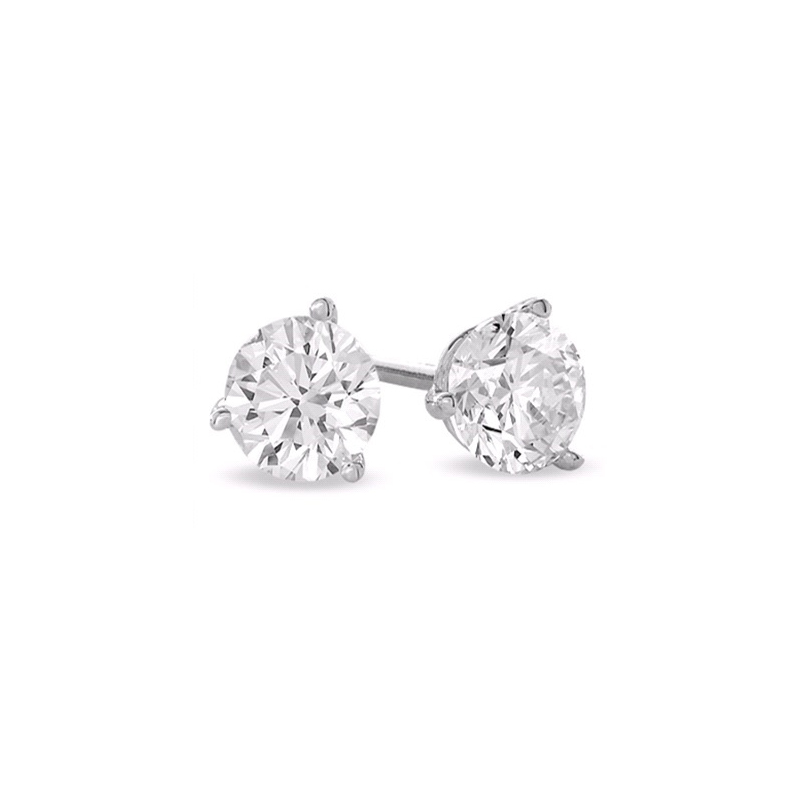 Paramount Gems 14 Karat White Gold Round Brilliant Diamond Solitaire Earrings