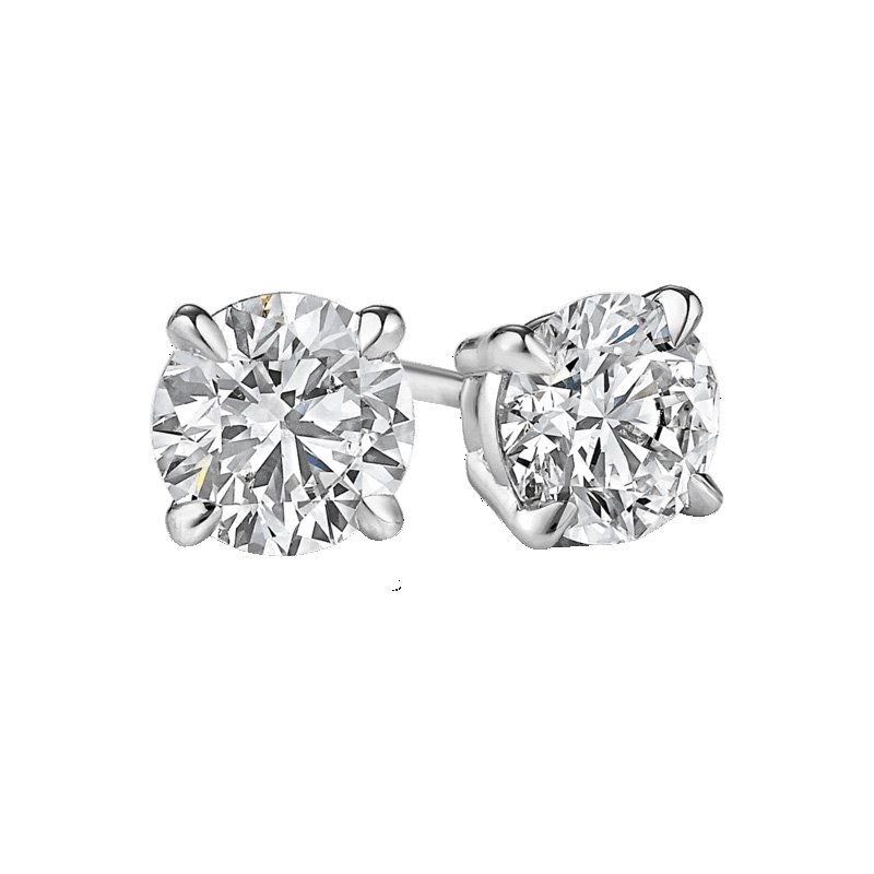 14 Karat white gold diamond solitaire earring. Each earring contains one round brilliant diamond prong set.  Diamonds have a total weight of 1.42 carats.