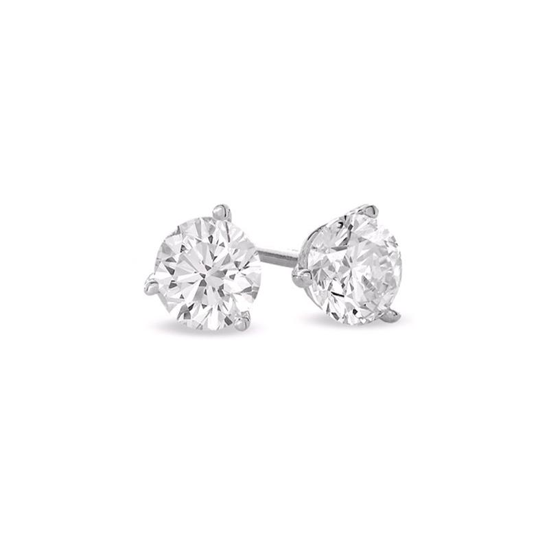 Paramount Gems 14 Karat White Gold Round Brilliant Diamond Solitaire Earrings