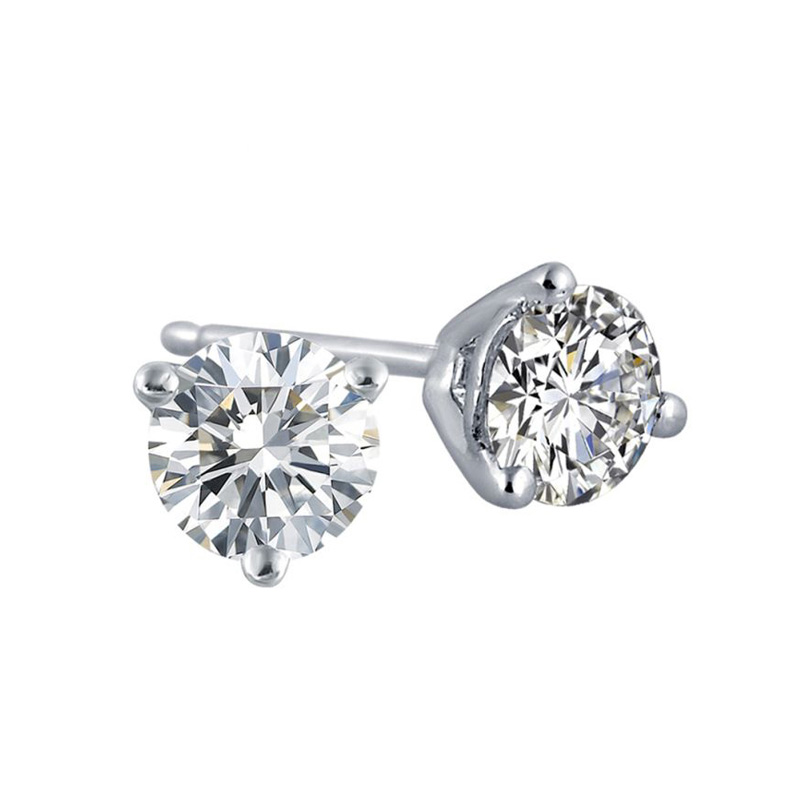 14 Karat white gold round brilliant diamond solitaire earrings in the .50 carat category program.