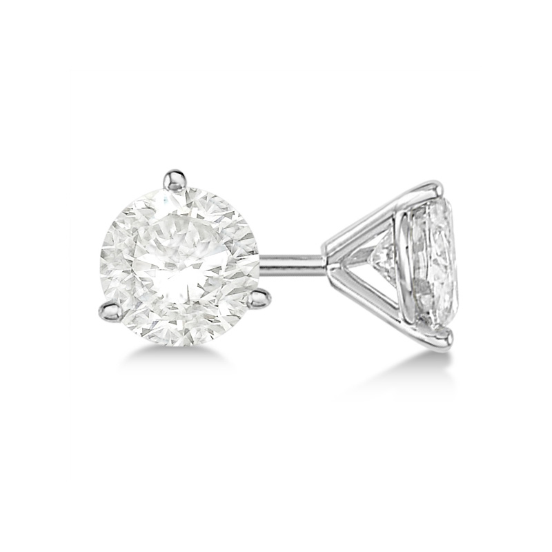 14 Karat white gold round brilliant diamond solitaire earrings in the 1.00 carat category program.