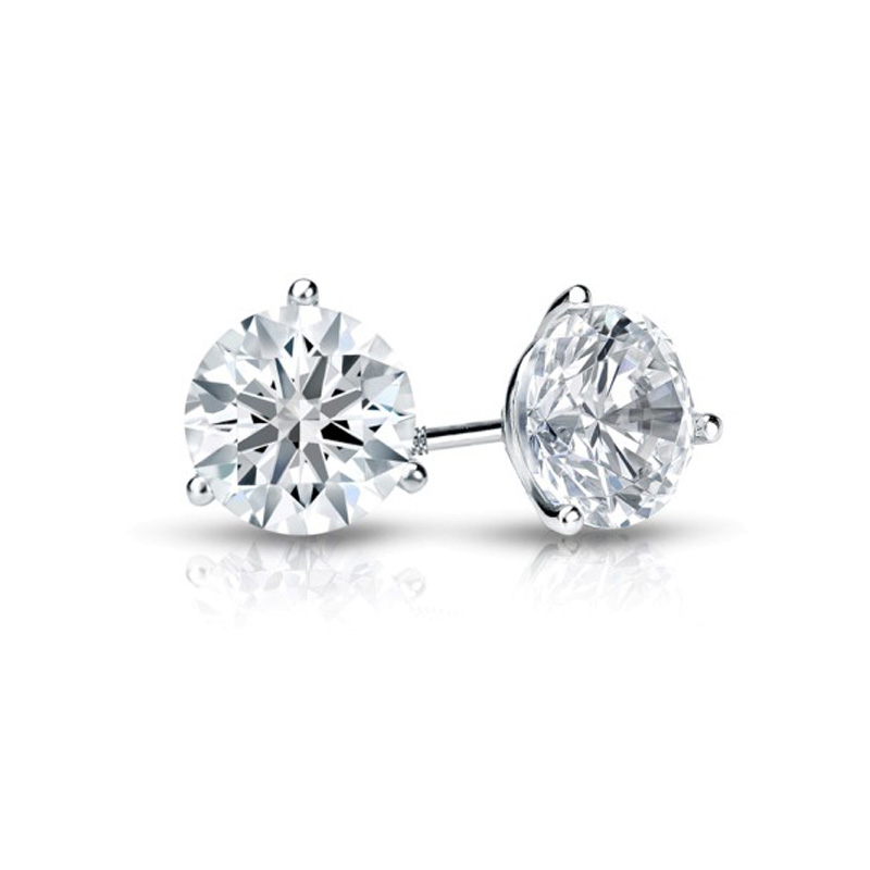 14 Karat white gold round brilliant diamond solitaire earrings in the 2.00 carats category program.