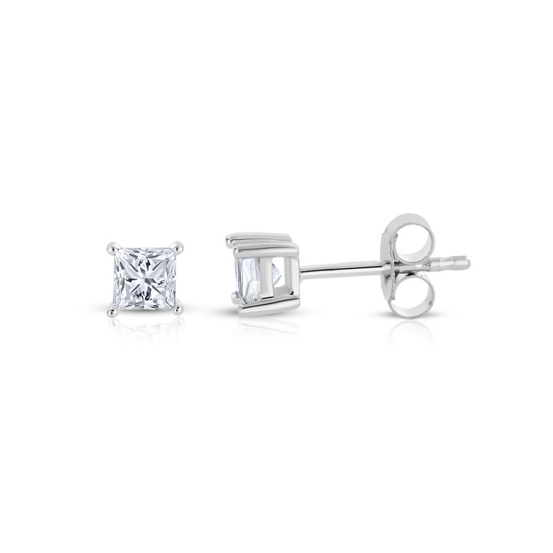 14 Karat white gold princess cut diamond solitaire earrings in the 0.25 carat category program.