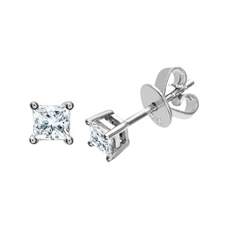 14 Karat white gold princess cut diamond solitaire earrings in the 0.33 carat category program.