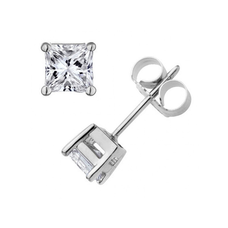 14 Karat white gold princess cut diamond solitaire earrings in the 0.50 carat category program.