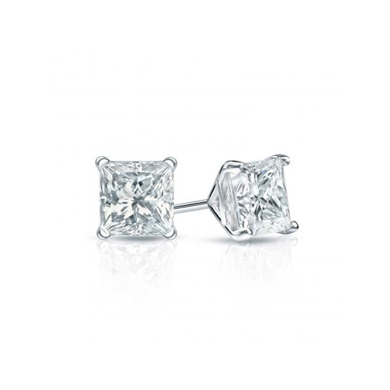 14 Karat white gold princess cut diamond solitaire earrings in the 0.75 carat category program.