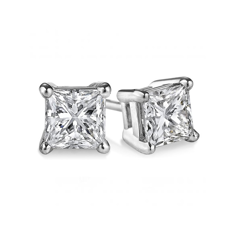 14 Karat white gold princess cut diamond solitaire earrings in the 1.00 carat category program.