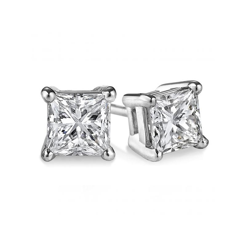 14 Karat white gold princess cut diamond solitaire earrings in the 1.00 carat category program.
