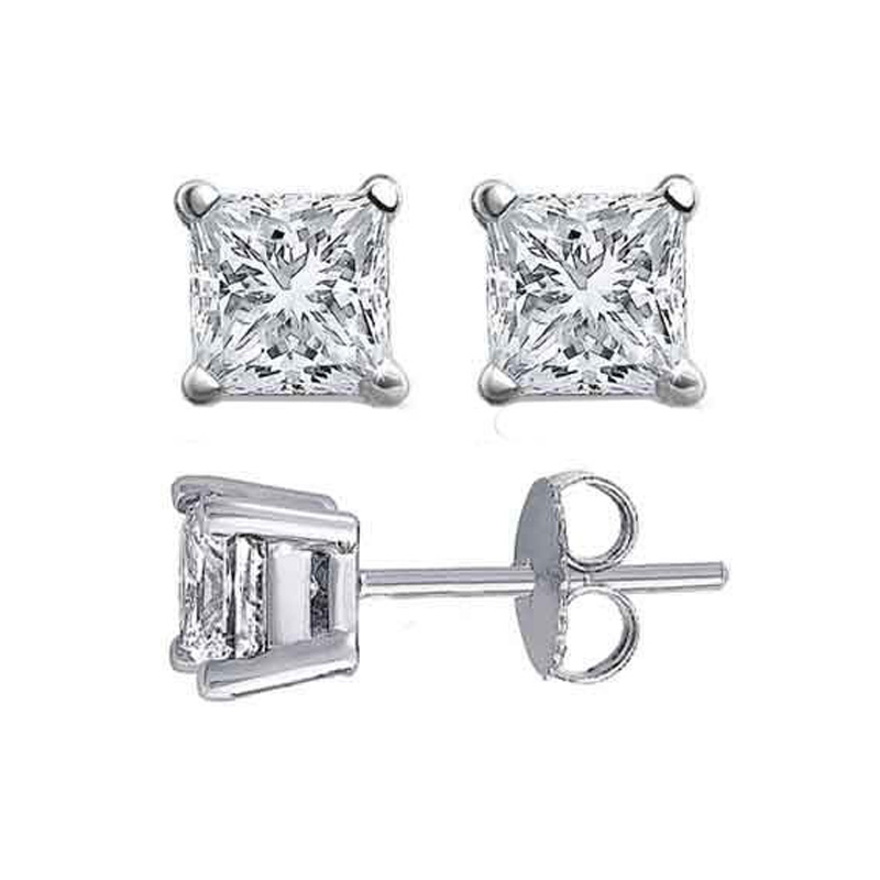 14 Karat white gold princess cut diamond solitaire earrings in the 1.50 carats category program.