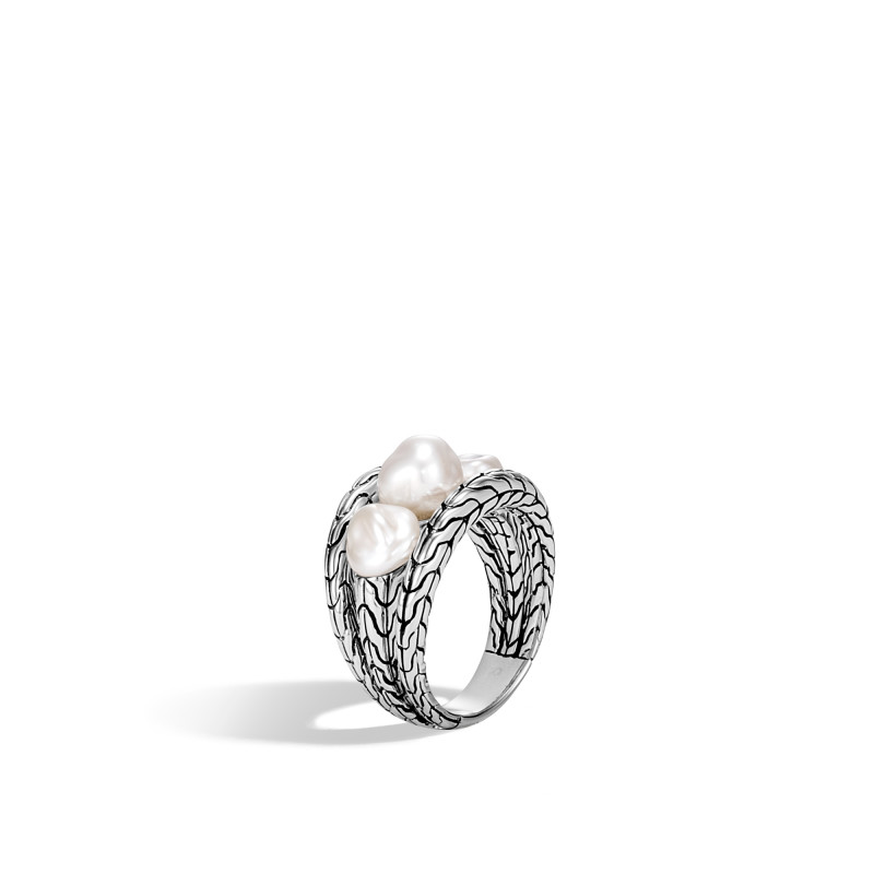John Hardy Classic Chain Silver Ring with Fresh Water Pearl
