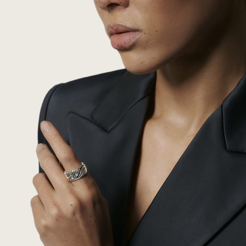 John Hardy Lahar Silver White & Grey Diamond Pave 10Mm Band Ring, .38Ctw, Size 7
