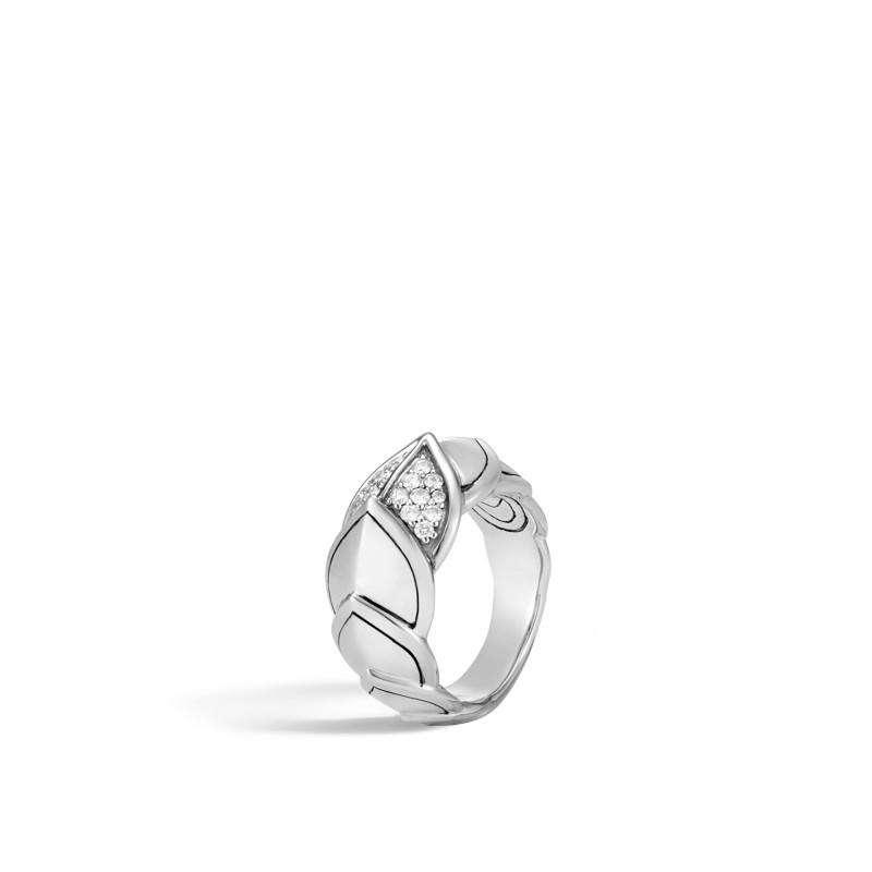 John Hardy Legends Naga Silver Diamond Pave Ring