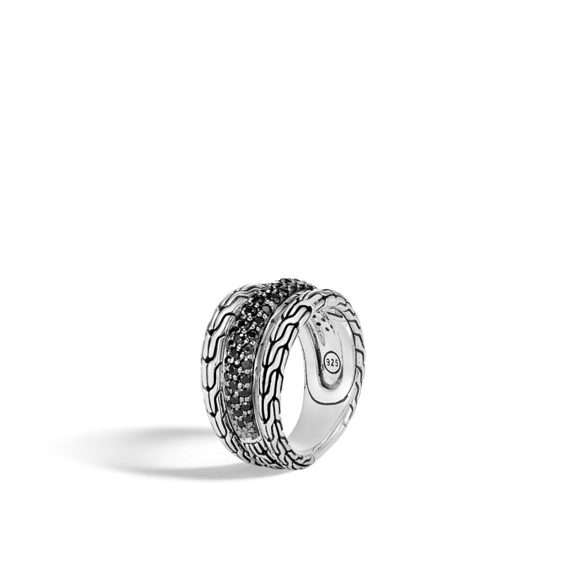 John Hardy Classic Chain Silver Ring with Black Sapphire and Black Spinel