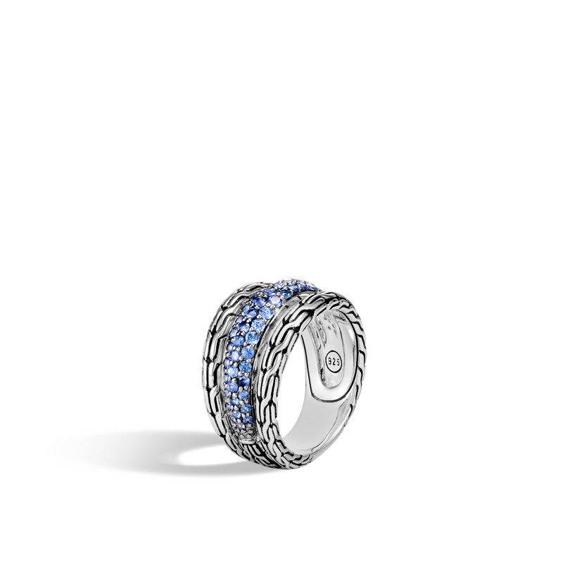 John Hardy Classic Chain Silver Ring with Blue Sapphire