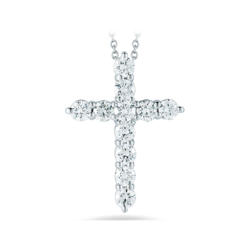 Roberto Coin 18 Karat White Gold Cross Pendant with Diamonds