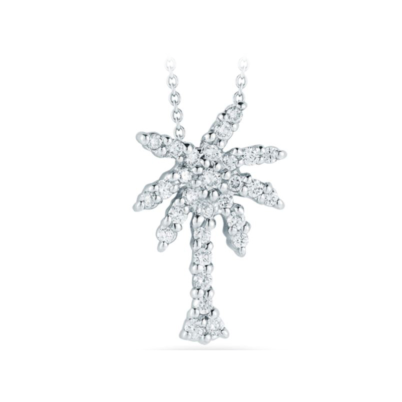 Roberto Coin 18 Karat White Gold Small Palm Tree Pendant with diamonds