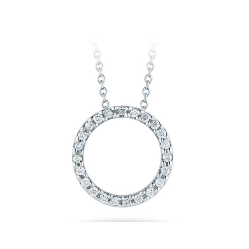 Roberto Coin 18 Karat White Gold Circle Pendant with Diamonds