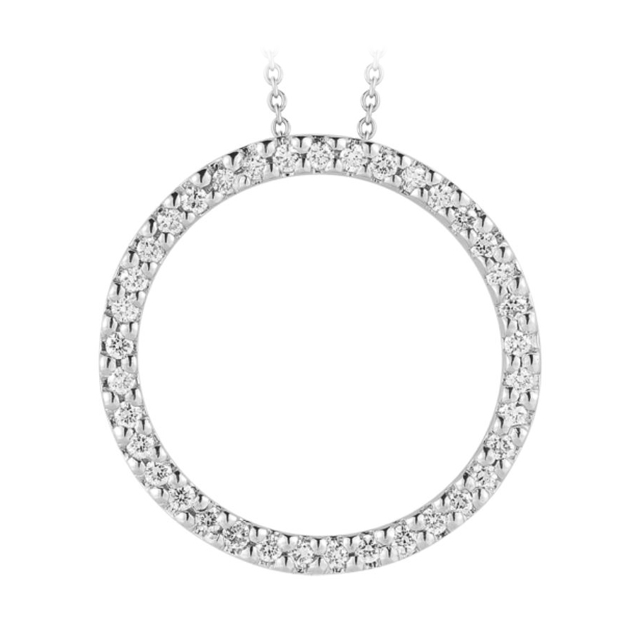Roberto Coin 18 Karat White Gold Small Diamond Circle Pendant
