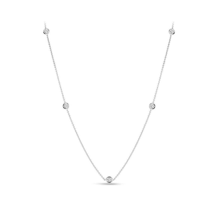 Roberto Coin 18 Karat White Gold Five Diamond Station Necklace