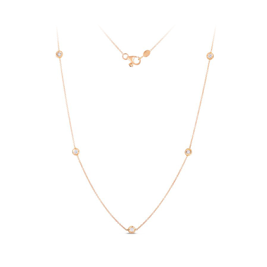 Roberto Coin 18 Karat Rose Gold Five Diamond Station Necklace