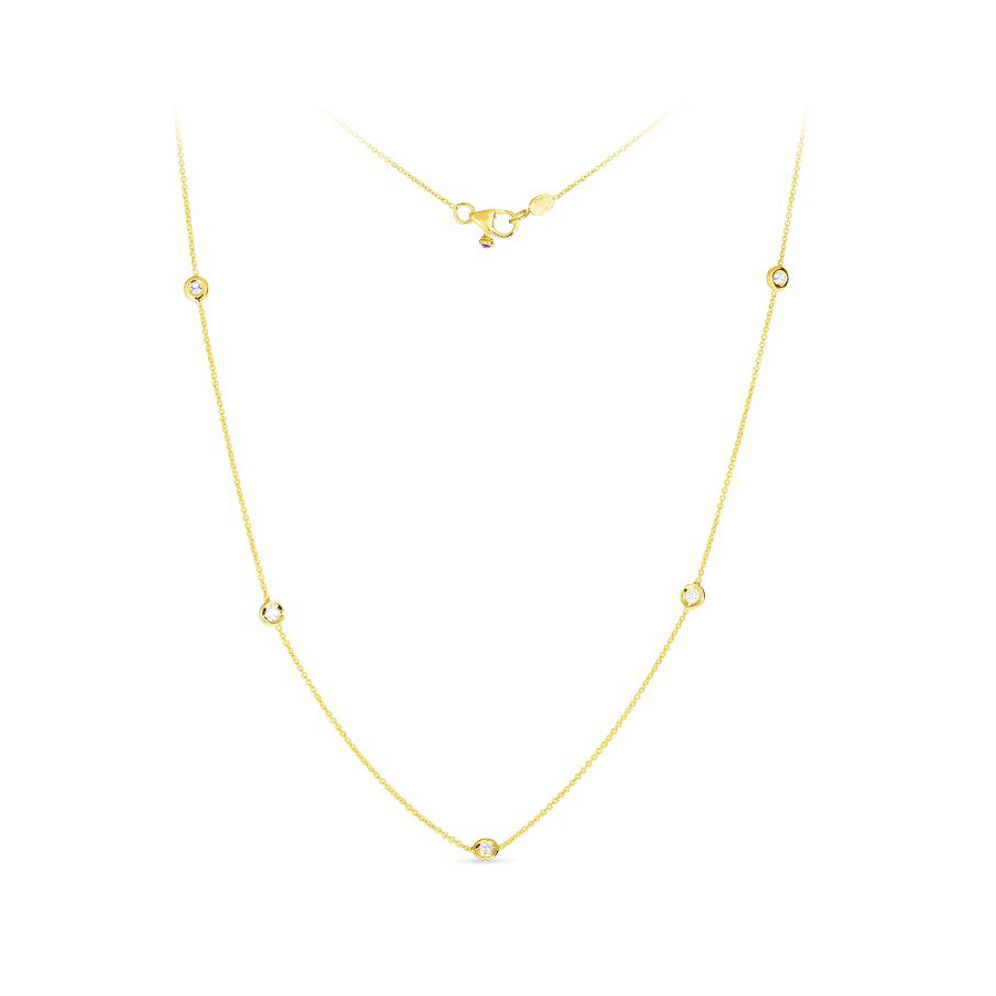 Roberto Coin 18 Karat Yellow Gold Five Diamond Station Necklace
