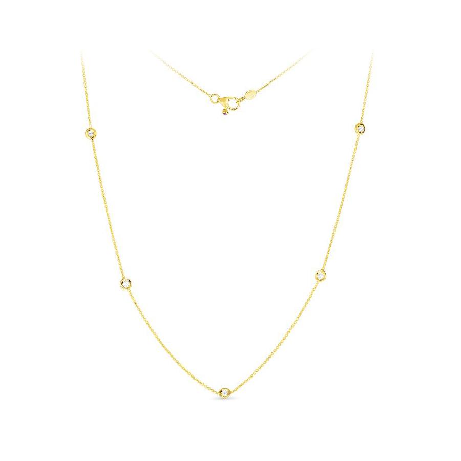 Roberto Coin 18 Karat Yellow Gold Five Diamond Station Necklace