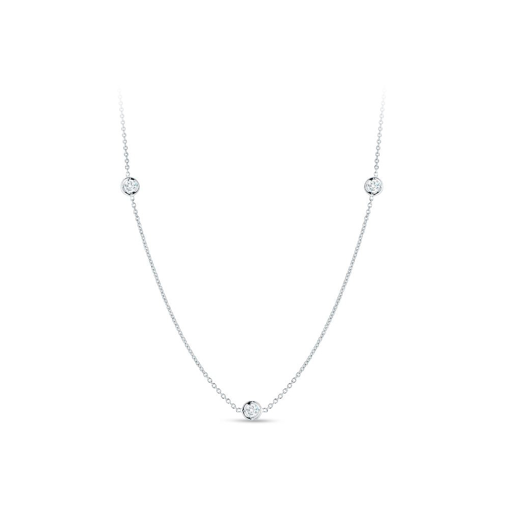 Roberto Coin 18 Karat White Gold Necklace with Three Diamond Stations