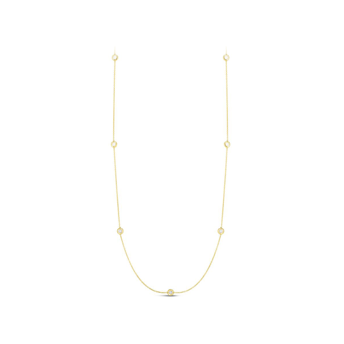 Roberto Coin 18 Karat Yellow Gold Necklace with Seven Diamond Stations