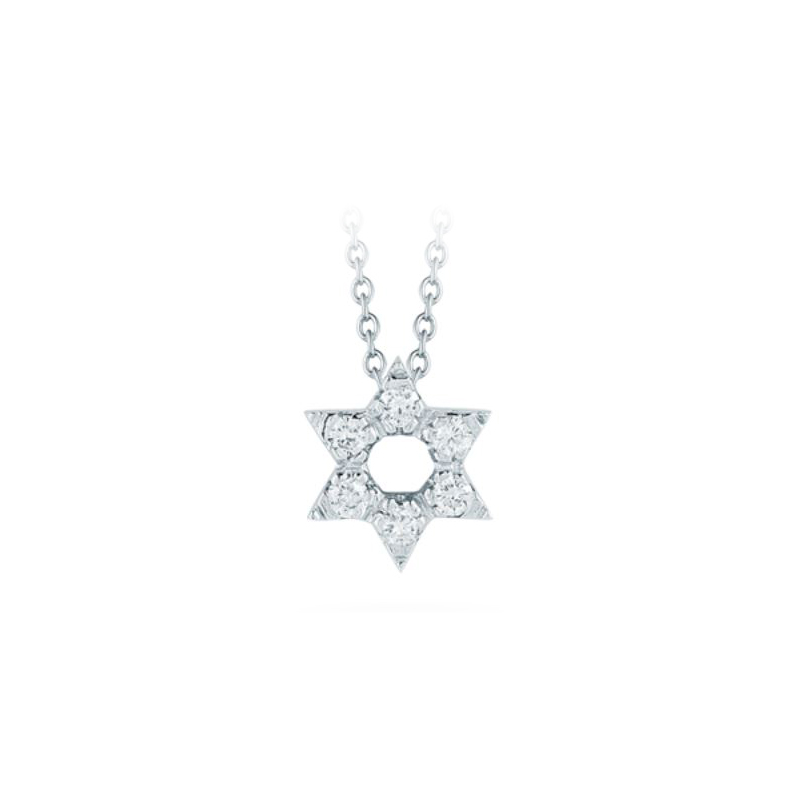 Roberto Coin 18 Karat White Gold Star of David Pendant with Diamonds