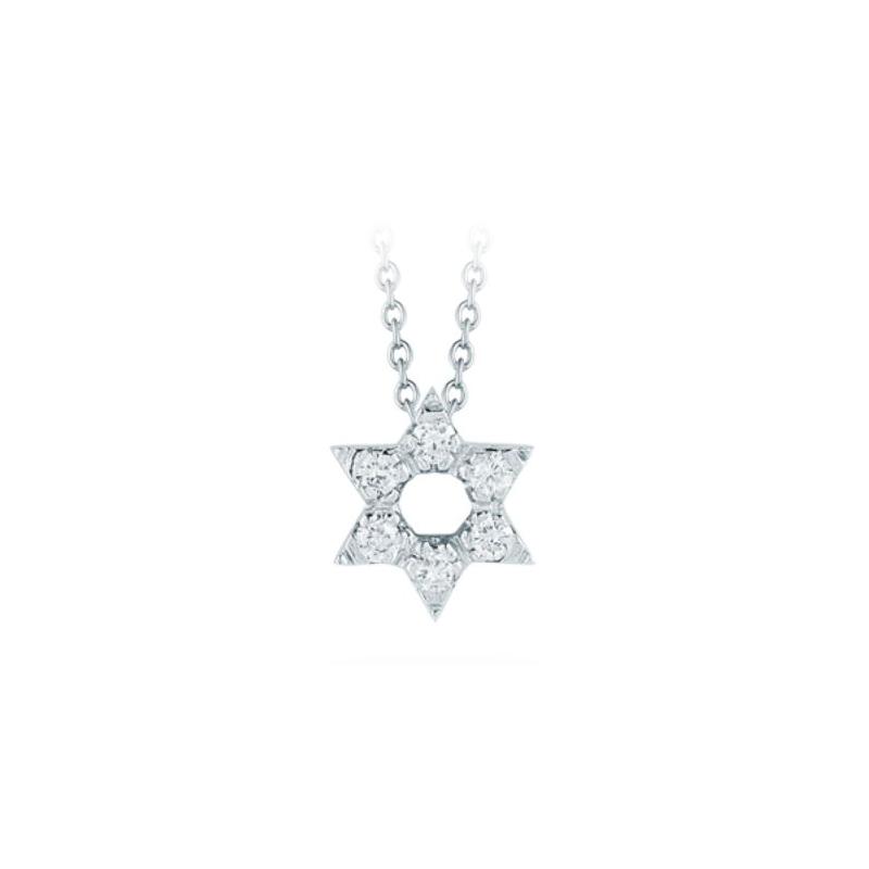 Roberto Coin 18 Karat White Gold Star of David Pendant with Diamonds