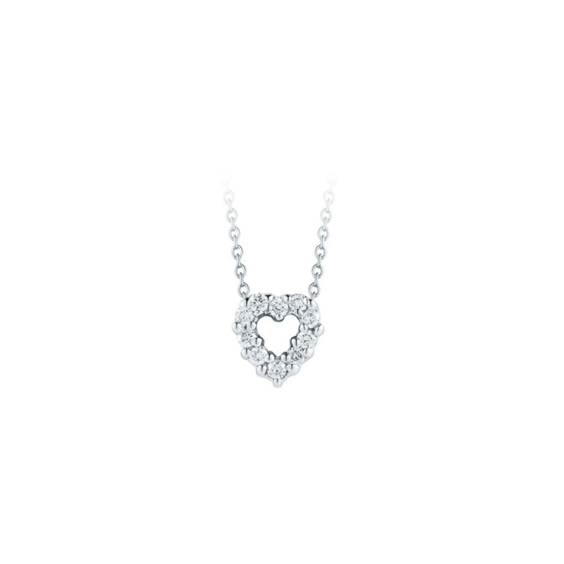 Roberto Coin 18 Karat White Gold Heart Pendant with Diamonds