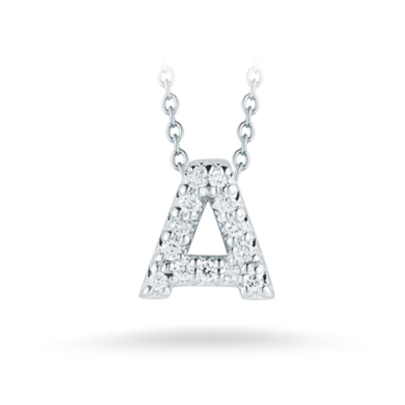 "Roberto Coin 18 Karat White Gold Love Letter ""A"" Pendant with diamonds"