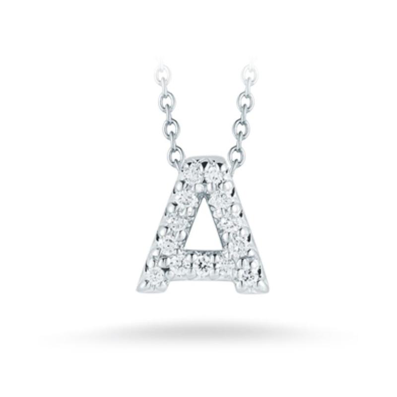 "Roberto Coin 18 Karat White Gold Love Letter ""A"" Pendant with diamonds"