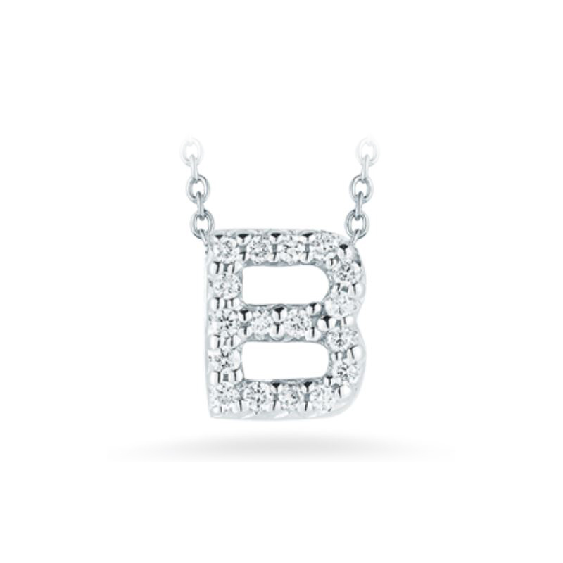 "Roberto Coin 18 Karat White Gold Love Letter ""B"" Pendant with diamonds"