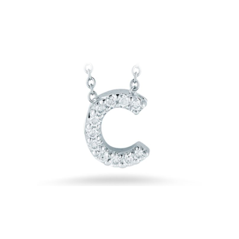 "Roberto Coin 18 Karat White Gold Love Letter ""C"" Pendant with diamonds"