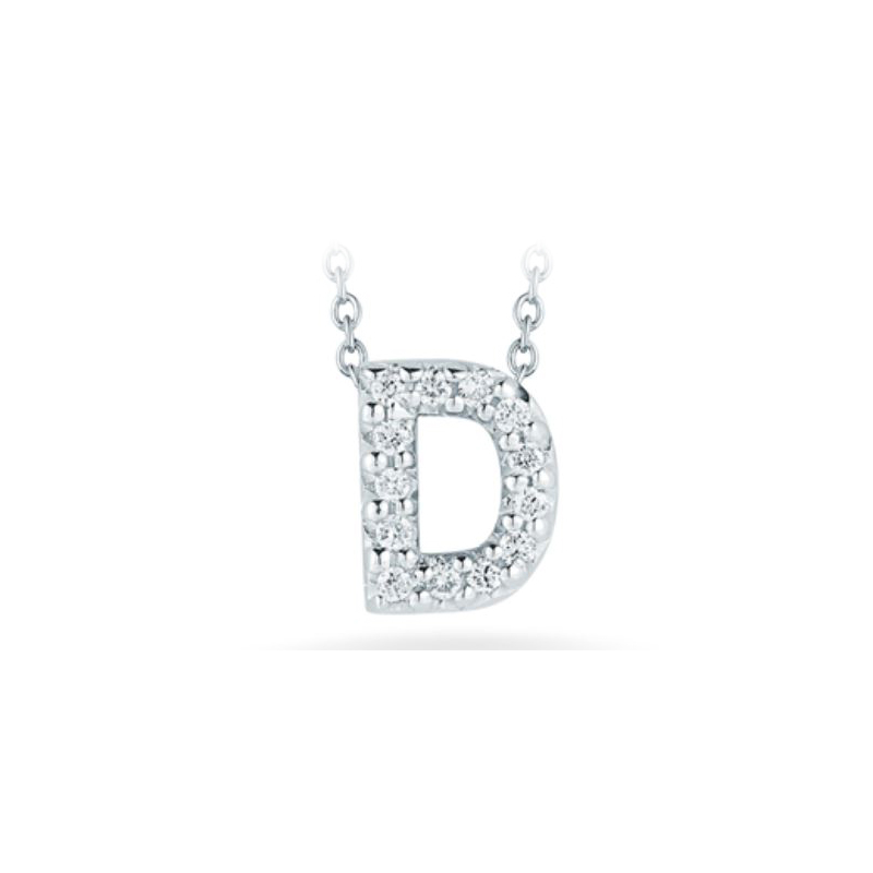 "Roberto Coin 18 Karat White Gold Love Letter ""D"" Pendant with diamonds"